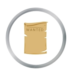 Wanted icon cartoon Singe western icon from the vector image