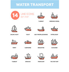 Water transport - line design icons set vector