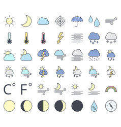 weather line icon set filling with pastel colors vector image