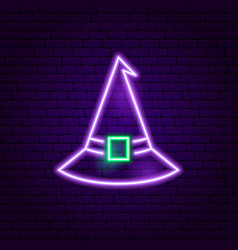 Witch hat neon sign vector