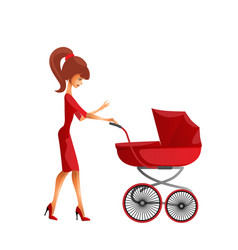 young mother pushing pram vector image