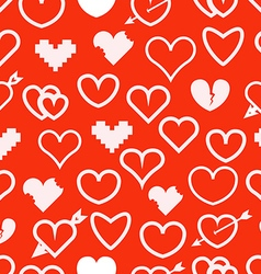 Different abstract hearts seamless pattern vector image vector image