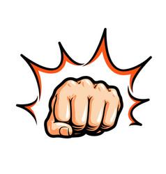 Hand fist punching or hitting comic pop art vector