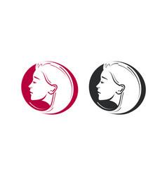 beauty shop salon barbershop logo portrait of vector image vector image