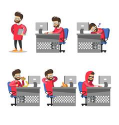 cartoon programmer with computer freelancer vector image