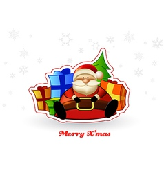 Sitting Santa with presents and Christmas tree vector image