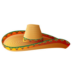 sombrero mexican straw hat with wide margins vector image