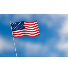 United States of America flag on blue sky vector image vector image