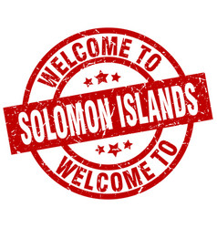 welcome to solomon islands red stamp vector image vector image