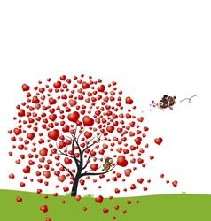 Bird and heart tree design of love vector image