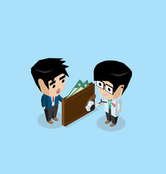 doctor holding stethoscope to check wallet health vector image