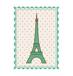 frame with silhouette of eiffel tower with vector image