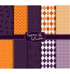 Halloween collection of seamless pattern vector image vector image
