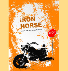 orange gray background with motorcycle image vector image