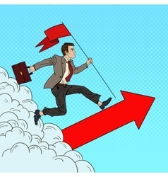 Pop Art Businessman with Flag Running to the Top vector image