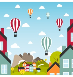 Small town with air balloons vector image vector image