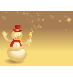 Snowman with wineglass on gold vector image vector image