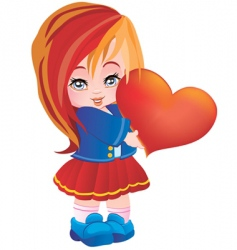 the girl with heart vector image vector image