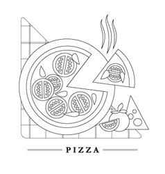 Traditional italian kitchen mono line logo vector