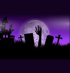 zombie hand in halloween landscape vector image