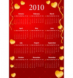 American calendar 2010 vector image vector image