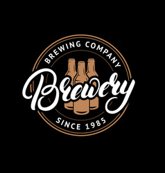 brewery hand drawn lettering logo label badge vector image vector image