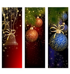 Christmas website banner set decorated with xmas vector