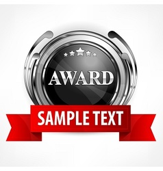 Metallic award with ribbon vector image vector image