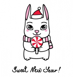 new year bunny vector image vector image