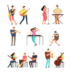people performing music musicians with musical vector image