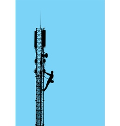 silhouette of worker climbing on mobile tower vector image