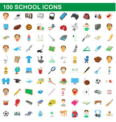 100 school set cartoon style vector image