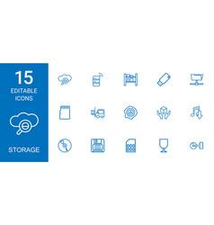 15 storage icons vector image