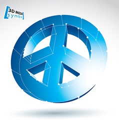 3d mesh blue peace icon isolated on white vector image