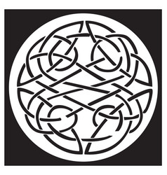 A celtic knot and pattern in a circle design vector