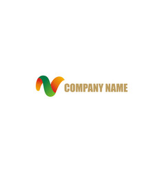 abstract letter v color company logo vector image
