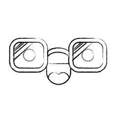 animated glasses with cheerful expression in black vector image