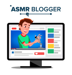 asmr blogger channel man whisper vector image