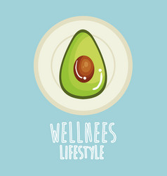Avocado vegetable wellness lifestyle vector