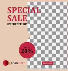 banner social media post furniture sale template vector image