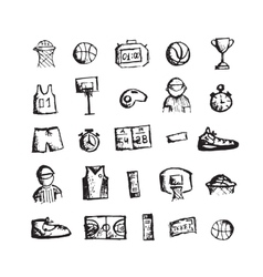 Basketball icons sketch for your design vector