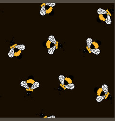 bee yellow seamless black pattern vector image