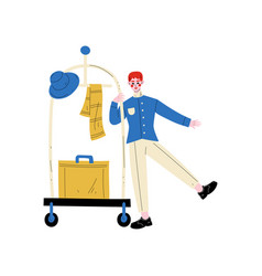 bellhop bellboy or bellman with luggage cart with vector image