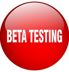 Beta testing red round gel isolated push button vector