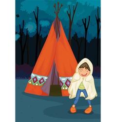 Boy camping vector
