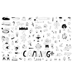 Camping hand drawn doodle set isolated icon set vector