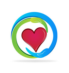 Caring hands heart gift icon vector