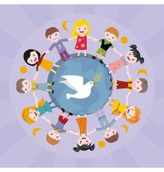 Children round globe vector