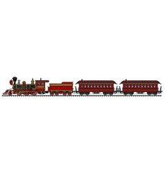 Classic red american wild west steam train vector