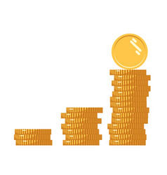 coins icon stack of golden coin like income graph vector image